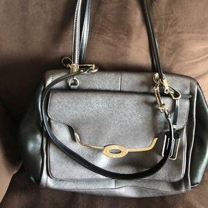Grey metallic cross body bag
